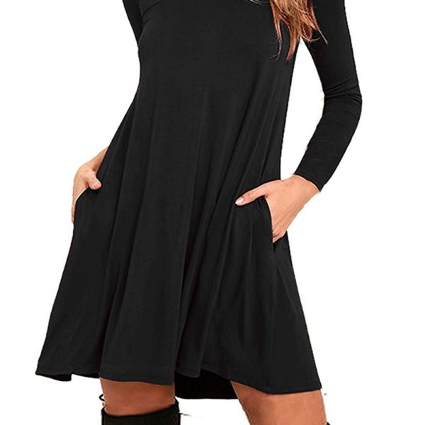 b950b8bcbebc ... Round Neck 3/4 Sleeves A-Line Casual Tshirt Dress With Pocket.  Babyonline Women's Double V-neck Tulle Appliques Long Evening Cocktail Gowns
