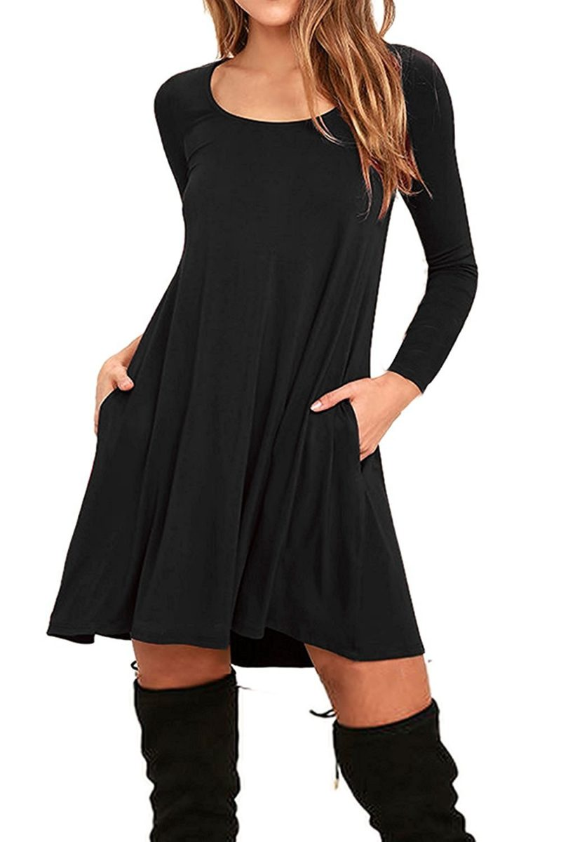 ffa614d13c0b ... Casual Tshirt Dress With Pocket. Babyonline Women's Double V-neck Tulle  Appliques Long Evening Cocktail Gowns