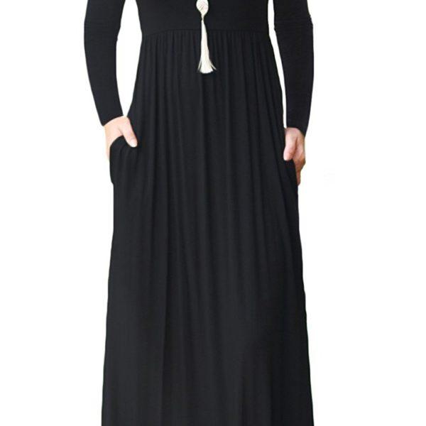 cbb6125bb2 ... Plain Maxi Dresses Casual Long Dresses With Pockets. POSESHE Women s  Solid V-Neck 3 4 Sleeve Plus Size Evening Party Maxi Dress