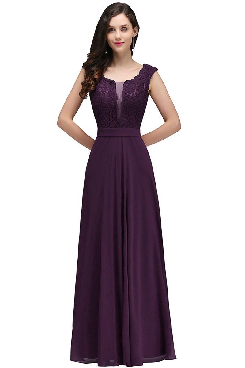 665bf5bc24d ... ClothingDressMisShow Women s Sleeveless Lace Applique Chiffon Long  Evening Prom Dress. FAIRY COUPLE Women Strapless Bridesmaid Evening Dresses