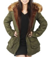 4how Womens Parka Jacket Hooded Winter Coats Faux Fur Coat